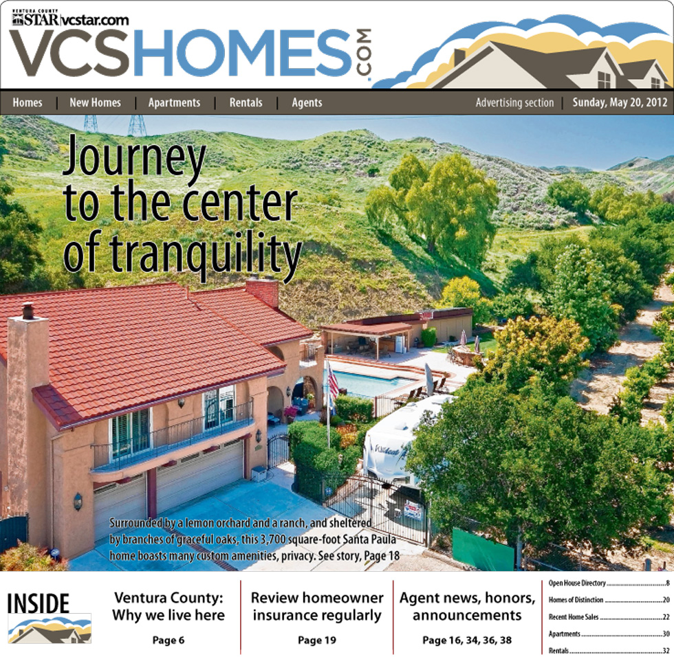 Ventura County Star Cover for 1482 Cedar St | May 20, 2012